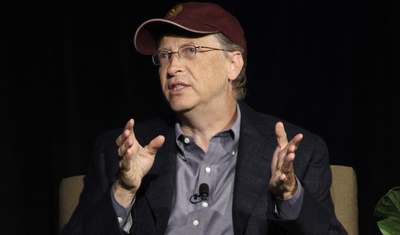 Microsoft Corp. chairman Bill Gates speaks, Tuesday, May 10, 2011, at a breakfast hosted by Climate Solutions in Seattle. Gates spoke about climate change and other energy issues, but did not talk about Microsoft's purchase of Skype. (AP Photo/Ted S. Warren)